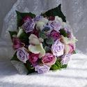 Üde nyári vintage menyasszonyi csokor, Esküvő, Esküvői csokor, Virágkötés, Készítettem egy igazi nyári csokrot üde nyári virágokból.Szép harmonikus összhatása van a lila külö..., Meska