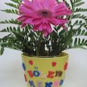 Egyedi készítésű kaspó, Dekoráció, Otthon, lakberendezés, Kaspó, virágtartó, váza, korsó, cserép, Gyurma, Ha szeretnél egy ünnepet személyesebbé tenni egy személyre szóló kaspóba teheted bele a virágot.  M..., Meska