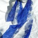 Kék hosszú selyem sál, Ruha, divat, cipő, Női ruha, Selyemfestés, RENDELHETŐ!  Kék virág minta díszíti két oldalán ezt a hosszú selyemsálat.A virágok szirmait sárga f..., Meska