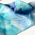 Lepkék az óceán felett - óceánkék selyemkendő, Ruha, divat, cipő, Női ruha, Selyemfestés, Lepkék szállnak az óceán felett...talán éppen hozzád? :)  Gyönyörű kék lepkék,óceánkék-türkiz alaps..., Meska