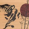 Egyedi Japán stílusú tigris intarzia falikép, Dekoráció, Képzőművészet , Kép, Vegyes technika, Famegmunkálás, Eladó és rendelhető a képen látható kézzel készült intarzia. Rendelés esetén a kép méretén, színén ..., Meska