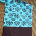 Korona - bevásárlótáska, Baba-mama-gyerek, Táska, Szatyor, Varrás, Türkiz alapon barna koronás pamutvásznat, pöttyös barna anyaggal egészítettem ki.  Bevásárló táska ..., Meska