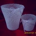 Hófehér horgolt kaspók/vázák, Dekoráció, , Meska
