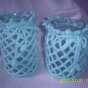 Türkiz zöld horgolt váza, Dekoráció, , Meska