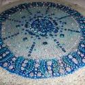 kék mandala, Otthon, lakberendezés, Képzőművészet, Esküvő, Dekoráció, Festészet, Üvegművészet, névnapra,szülinapra,esküvöre,ballagásra ajándékozzon mandalát... 25 cm-es falra akasztható,nagyon s..., Meska