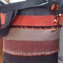 Kord,  fodros táska , Táska, Szatyor, Tarisznya, Válltáska, oldaltáska, Varrás, Farmerből és barna ,rozsda ,narancs és szürke színű kordokból készítettem ezt a táskát.Bevásárló tá..., Meska