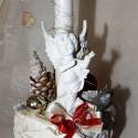 Angyalkás-gyertyás, ünnepi asztaldísz, antik kaspóban! , Dekoráció, Ünnepi dekoráció, Karácsonyi, adventi apróságok, Karácsonyi dekoráció, Virágkötés, Angyalkás-gyertyás, ünnepi asztaldísz, antik kerámia (masszív) kaspóban! Termésekkel, díszekkel, sz..., Meska