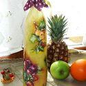 Gyümölcsmintás üveg, házi szörpnek,pálinkának, 7dl-es !, Konyhafelszerelés, Otthon, lakberendezés, Bögre, csésze, Kancsó , Decoupage, szalvétatechnika, Gyümölcsmintás üveg, házi szörpnek, pálinkának ! Igényes, szép kidolgozással, csipkepapírral, némi ..., Meska