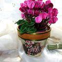 Dekoratív, virágmintával díszített kerámia kaspó !, Otthon, lakberendezés, Konyhafelszerelés, Kaspó, virágtartó, váza, korsó, cserép, Kancsó , Decoupage, szalvétatechnika, Dekoratív, virágmintával díszített kerámia kaspó! Igényes, szép kidolgozással, kézi festéssel! Zöld..., Meska