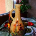 Olíva-mintával dekorált kiöntő üveg, olivaolajnak vag ecetnek !, Konyhafelszerelés, Fűszertartó, Bögre, csésze, Kancsó , Decoupage, szalvétatechnika, Olíva-mintával dekorált kiöntő üveg, olívaolajnak vagy ecetnek !  Igényes, szép kidolgozással, több..., Meska