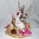 Kedves, nyuszis  kosárka, asztalra vagy polcra. AZONNAL VIHETŐ !, Otthon, lakberendezés, Dekoráció, Húsvéti apróságok, Ünnepi dekoráció, Virágkötés, Kedves, nyuszis kosárka, asztalra vagy polcra, bézs-rózsaszín színekben! Szalagokkal, virágokkal,te..., Meska