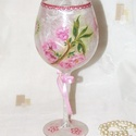 Kecses, virágmintákkal dekorált üveg-kehely !, Dekoráció, Otthon, lakberendezés, Dísz, Kaspó, virágtartó, váza, korsó, cserép, Virágkötés, Kecses, virágmintákkal dekorált üveg-kehely, pot-pourinak, vagy mécsesnek!  Szülinapra/névnapra is ..., Meska