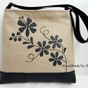 Kalocsa virágai válltáska, oldaltáska - fekete/homokszín