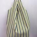 Öko bevásárló, csíkos táska, Ruha, divat, cipő, Táska, Szatyor, Kosár, Varrás, Design táskák - KÉSZLETEN!  A táska külső része fehér-zöld csíkos, extra erős kempingszék vászonból..., Meska