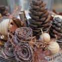 Erdei fények - őszi asztaldísz készlet, Dekoráció, Otthon, lakberendezés, Ünnepi dekoráció, Gyertya, mécses, gyertyatartó, Újrahasznosított alapanyagból készült termékek, Virágkötés, A készlet 3db különálló asztaldíszből és 4db textil tökből áll. Az asztaldíszekben a mécsesek cserél..., Meska