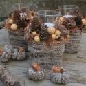Erdei fények - őszi asztaldísz készlet, Dekoráció, Otthon, lakberendezés, Ünnepi dekoráció, Gyertya, mécses, gyertyatartó, Újrahasznosított alapanyagból készült termékek, Virágkötés, A készlet 3db különálló asztaldíszből és 4db textil tökből áll. Az asztaldíszekben a mécsesek cseré..., Meska