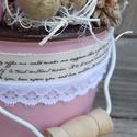 Bimbózó szerelem - romantikus mécses tartó, Dekoráció, Otthon, lakberendezés, Gyertya, mécses, gyertyatartó, Virágkötés, Egy pici rózsaszín kerámia vödör lett az alapja ennek a kedves, szerelmes mécses tartónak, ami jóle..., Meska