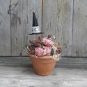 Hókuszpókusz - vintage stílusú Halloween asztaldísz, Dekoráció, Otthon, lakberendezés, Virágkötés, Varrás, Egy harang formájú agyag cserepet választottam ehhez a hangulatos asztaldíszhez. A cserépbe száraz ..., Meska