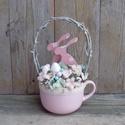 NyuszikÁm - Shabby chic stílusú húsvéti asztaldísz, Dekoráció, Otthon, lakberendezés, Dísz, Húsvéti apróságok, Famegmunkálás, Virágkötés, Bájos húsvéti asztaldísz, ami a közkedvelt Shabby chic stílusban készült. Az asztaldíszhez egy nagy..., Meska
