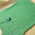 Zöld, mentazöld, kötött,  pamut felső vagy mellény, tarka horgolt kitűzővel, Ruha, divat, cipő, Női ruha, Felsőrész, póló, Kötés, Horgolás, RENDELHETŐ! ÍRJ, MEGBESZÉLJÜK!  Az idei év divatszíne, váltakozó sodrású fonal, és a jókedv eredmény..., Meska