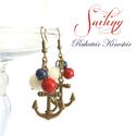 Sailing fülbevaló, Ékszer, óra, Fülbevaló, Ékszerkészítés, Sailing fülbevaló  Horgony függős fülbevaló, fehér jáde, kék lazurit és vörös folyamkő ásványgolyók..., Meska