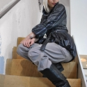 """Szürke/Fekete/Lila csíkos átmeneti kabát, Ruha, divat, cipő, Női ruha, Kabát, Varrás, -50%-os téli leárazás,a termék eredeti ára:24990ft! Mérete:\""""XS\"""" Egyedi tervezésű, készítésű darab..., Meska"""