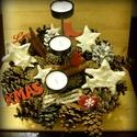 Karácsonyi asztalísz, Otthon, lakberendezés, Dekoráció, Karácsonyi, adventi apróságok, Ünnepi dekoráció, Karácsonyi dekoráció, Mindenmás, Virágkötés, Még a szépen terített karácsonyi asztalt is feldobja ez a kézzel festett, lakkozott csillag alakú k..., Meska