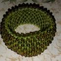 Széles zöld gyöngy karkötő, Ékszer, óra, Karkötő, , Meska