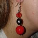 Piros-fekete fülbevaló, Ékszer, óra, Fülbevaló, , Meska