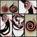 Fekete-rózsaszín textil szett, Ékszer, óra, Fülbevaló, Nyaklánc, , Meska