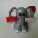 Fáncsi, Dekoráció, Játék, Dísz, Játékfigura, Gyurma, Süthető gyurmából készült 4 cm-es kiselefánt, masnival a nyakában. Aprócska ajándék szívvel-lélekkel..., Meska