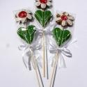 """Mézeskalács virág,Nőnapra,Ballagásra,Pedagógusnapra,bármilyen alkalomra.., Dekoráció, Ünnepi dekoráció, Dísz, Mézeskalácssütés,  3 DARAB!!! a """"csomagban""""  Bambusz pálcán mézeskalács virág.A virág része kb 14 cm magas,pálcával e..., Meska"""