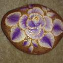 Kézzel festett lila rózsa, arany kontúrral, Dekoráció, Otthon, lakberendezés, Dísz, Kerti dísz, , Meska