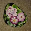 Kavicsra festett virág-kompozíció , Dekoráció, Otthon, lakberendezés, Dísz, , Meska