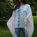 Extravagáns selyem kimonóblúz , Ruha, divat, cipő, Esküvő, Női ruha, Blúz, Varrás, Festészet, Kézzel festett különlegesség halvány-rózsaszín és halvány-türkiz árnyalatokban.  Az eleje-mintáját ..., Meska