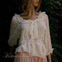 """""""Fodroska"""" - romantikus selyembársony blúz, Ruha, divat, cipő, Esküvő, Női ruha, Blúz, Varrás, Különleges minőségű selyembársonyból készült ez a csinos blúzocska. Derekát elöl és hátul francia c..., Meska"""