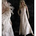 """""""Louise"""" - alternatív menyasszonyi ruha , Esküvő, Ruha, divat, cipő, Menyasszonyi ruha, Női ruha, Varrás, Vajszínű hímzett gyűrt taftból készült, egyszerű vonalú félvállas elegáns hosszú ruha. A dekoltázs ..., Meska"""