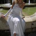 """""""Marietta"""" - alternatív menyasszonyi ruha, Esküvő, Ruha, divat, cipő, Menyasszonyi ruha, Női ruha, Varrás, Háromrészes avantgárd menyasszonyi ruha gyűrt selyem alsószoknyával:   A félvállas csipketop rafiná..., Meska"""