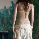 """""""Heidi """"- shabby chic festett csipkeruha, Esküvő, Ruha, divat, cipő, Női ruha, Varrás, Festett tárgyak, Kézzel festett elasztikus csipkéből készült félvállas ruhácska. A szoknyarészt aszimmetrikus-cafran..., Meska"""