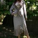 Metálszálas szett, Esküvő, Ruha, divat, cipő, Női ruha, Kosztüm, Festett tárgyak, Varrás, Metál-szálas háromrészes öltözet:  Különleges fémszálas selyemből készítettem és kézzel foltocskása..., Meska