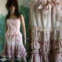 """""""Lencsi"""" - dollyruha -  romantikus alternatív színes menyasszonyi ruha, Esküvő, Ruha, divat, cipő, Menyasszonyi ruha, Női ruha, Varrás, Festett tárgyak, Viktoriánus stílusú rövid babás-menyasszonyi ruha sok-sok fodorral, csipkével, s mindez természetes..., Meska"""