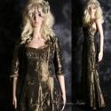 """""""Evita"""" - elegáns kétrészes taftruha, Ruha, divat, cipő, Női ruha, Estélyi ruha, Ruha, Varrás, Sellőfazonú, spagettipántos hosszú ruha látványos szalagrátétes óarany taftból. Hozzá anyagából kés..., Meska"""