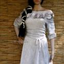 """""""Shabby-rose"""" - romantikus zsenília ruhácska, Ruha, divat, cipő, Női ruha, Ruha, Festett tárgyak, Varrás, Foltocskásan festettem ezt a fehér kötött zseníliából szabott ruhácskámat. Így kékes-lilás-rózsaszí..., Meska"""
