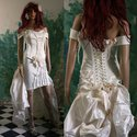 """""""Léda L"""" - exkluzív fűzős menyasszonyi ruha, Esküvő, Ruha, divat, cipő, Menyasszonyi ruha, Esküvői ruha, Varrás, Extravagáns, két részes, halcsontos-fűzős menyasszonyi ruha nagyobb méretű (jó lábú) menyasszonyokn..., Meska"""