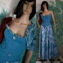 """""""Irisz"""" design-ruha -  alternatív menyasszonyi ruha, Ruha, divat, cipő, Esküvő, Női ruha, Estélyi ruha, Varrás, Különösen szép kék színű anyagok """"házasságából"""" született összeállítás. Halcsontos, enyhén elasztik..., Meska"""