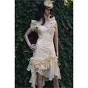 IZA-GOLD - koktélruha , Esküvő, Ruha, divat, cipő, Menyasszonyi ruha, Esküvői ruha, Varrás, Hableányos koktélruha arany-spricces pamutvászonból, pliszírozott vajsárga organza fodrokkal-rátéte..., Meska
