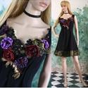 """GLITTER-ROSE - applikált design selyem-ruha, Ruha, divat, cipő, Női ruha, Estélyi ruha, Ruha, Varrás, Patchwork, foltvarrás, Ha egy igazán különleges """"kis feketére"""" vágysz:   Nehéz-selyemből készült alkalmi modellem mell-köz..., Meska"""