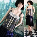 VILMA-LUX - design kombinéruha, Ruha, divat, cipő, Esküvő, Női ruha, Ruha, Varrás, A '20-as évek ihlette kombinéruha különböző  kék szatén-selymekből, derekán cakkokban csüngő kézzel..., Meska