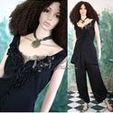 RHODA  -  design ruha - applikált selyem kétrészes XL, Ruha, divat, cipő, Női ruha, Nadrág, Estélyi ruha, Varrás, Patchwork, foltvarrás, Nagyobb méretű Hölgyeknek ajánlom ezt az extravagáns öltözetem:  - Nehéz-selyemből készült,enyhén k..., Meska