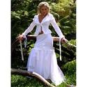FANNI - vászon-kosztüm, Esküvő, Ruha, divat, cipő, Menyasszonyi ruha, Esküvői ruha, Patchwork, foltvarrás, Varrás, Alternatív menyasszonyi kosztüm fehér pamutvászonból, gazdagon díszítve.  Elöl-hátul karcsúsító pié..., Meska